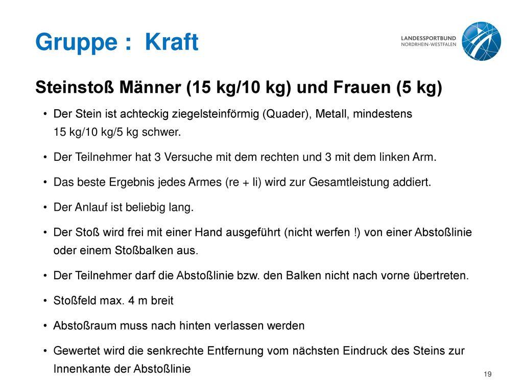 Gruppe : Kraft Steinstoß Männer (15 kg/10 kg) und Frauen (5 kg)