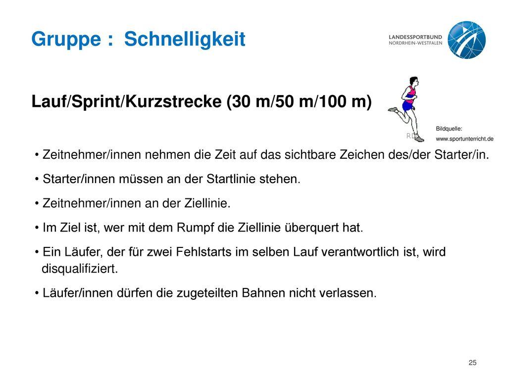 Gruppe : Schnelligkeit Lauf/Sprint/Kurzstrecke (30 m/50 m/100 m)