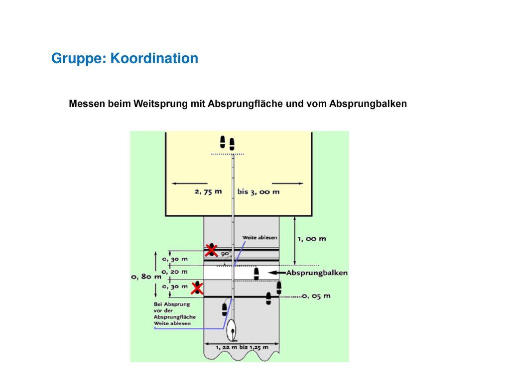 Gruppe: Koordination Messen beim Weitsprung mit Absprungfläche und vom Absprungbalken