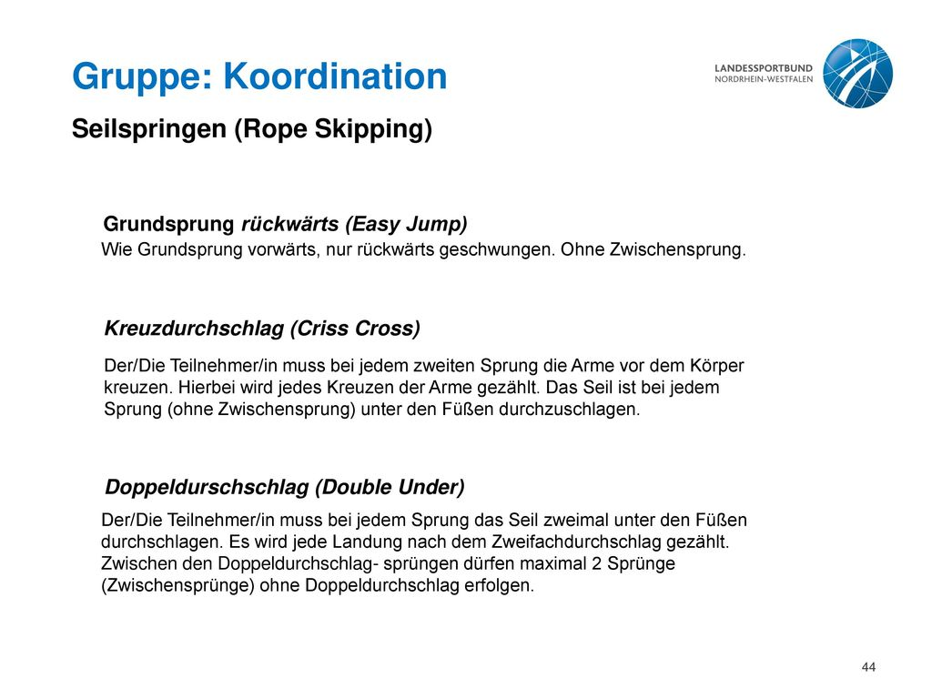 Gruppe: Koordination Seilspringen (Rope Skipping)