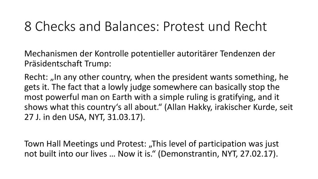 8 Checks and Balances: Protest und Recht