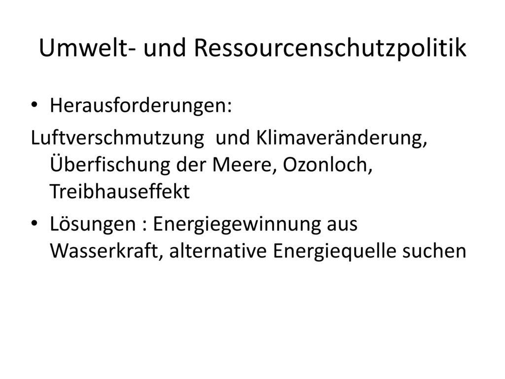 Umwelt- und Ressourcenschutzpolitik