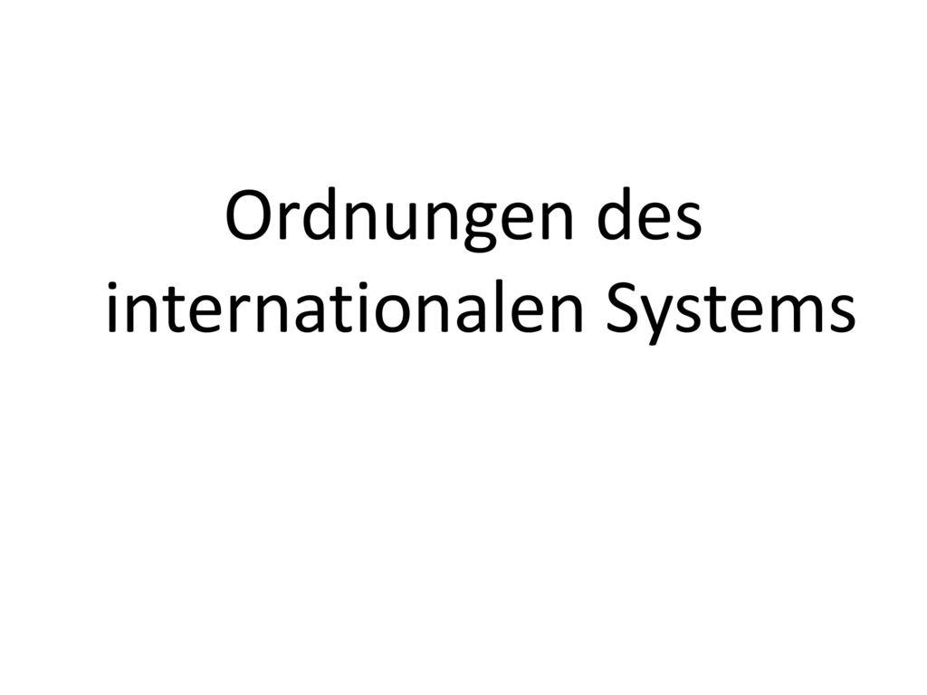 Ordnungen des internationalen Systems