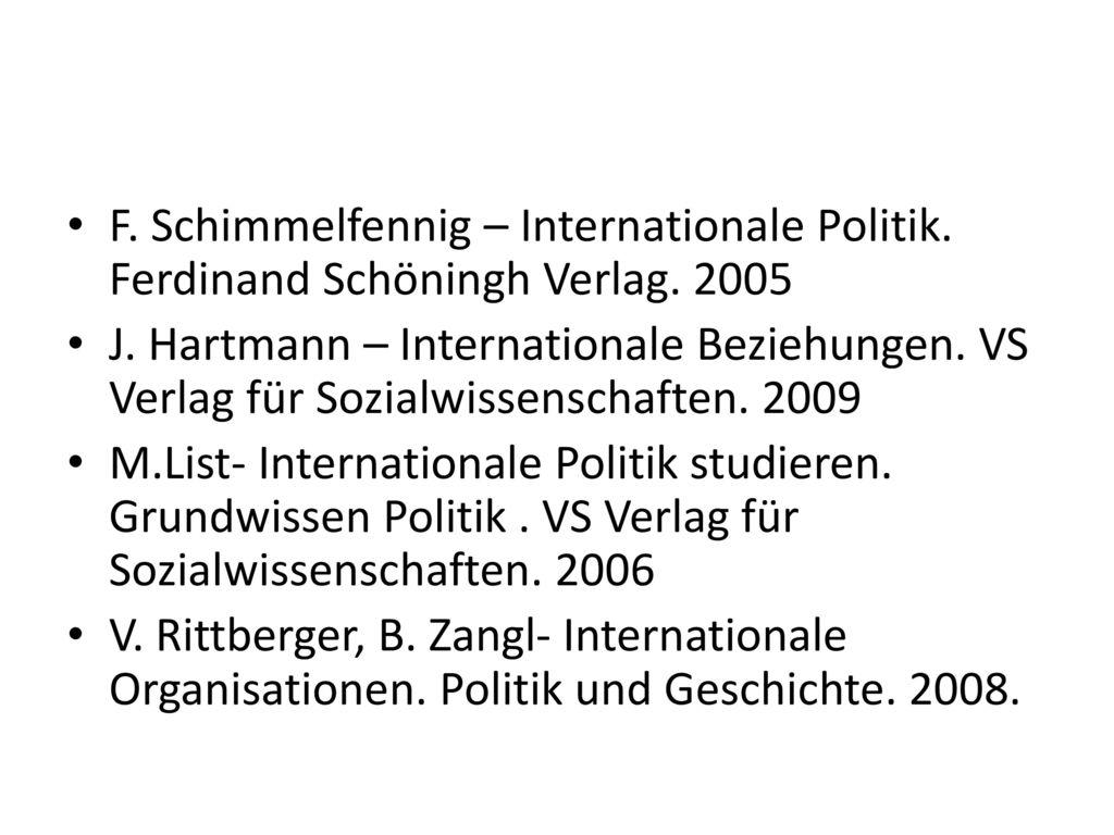 F. Schimmelfennig – Internationale Politik. Ferdinand Schöningh Verlag