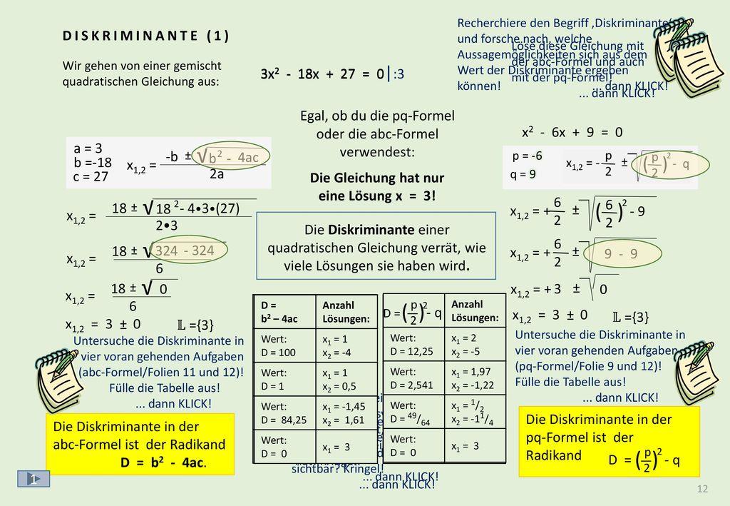 ( ) √ √ ( ) √ √ DISKRIMINANTE (2) Zwei weitere interessante Fälle: