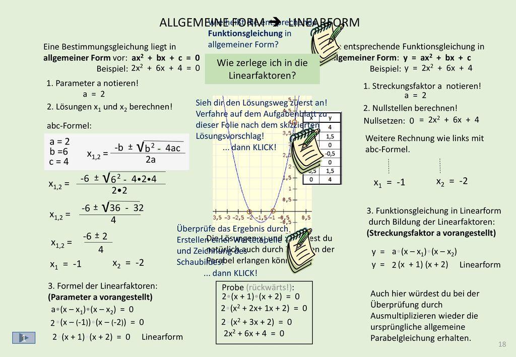 DIE FUNKTIONSGLEICHUNGEN DER PARABEL I y = x2 + px + q