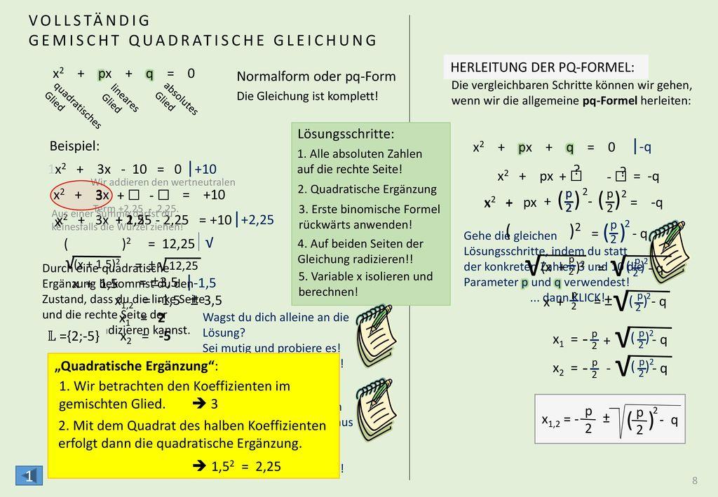 ( ) ( ) ( ) √2,25 + 10 √ ANWENDUNG DER PQ-FORMEL x2 + 3x - 10 = 0