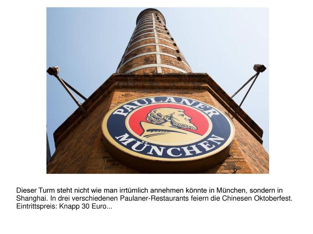 Dieser Turm steht nicht wie man irrtümlich annehmen könnte in München, sondern in Shanghai.