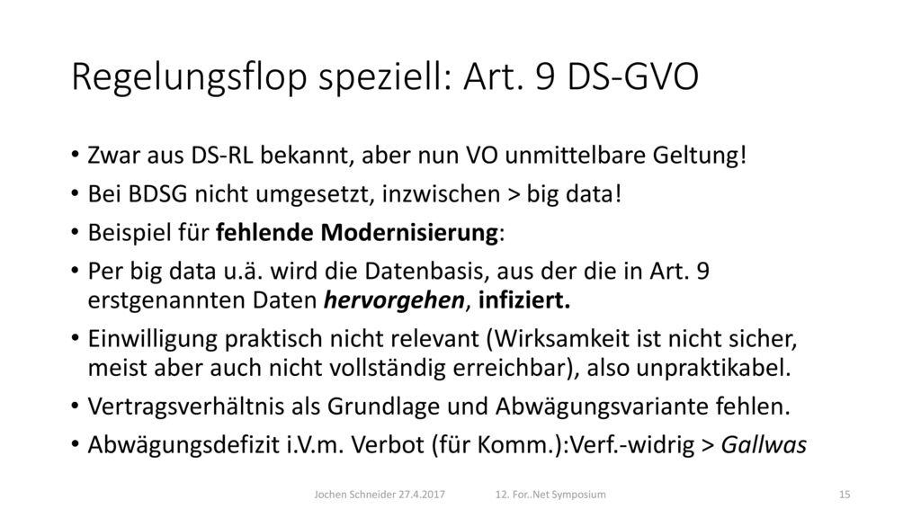 Regelungsflop speziell: Art. 9 DS-GVO