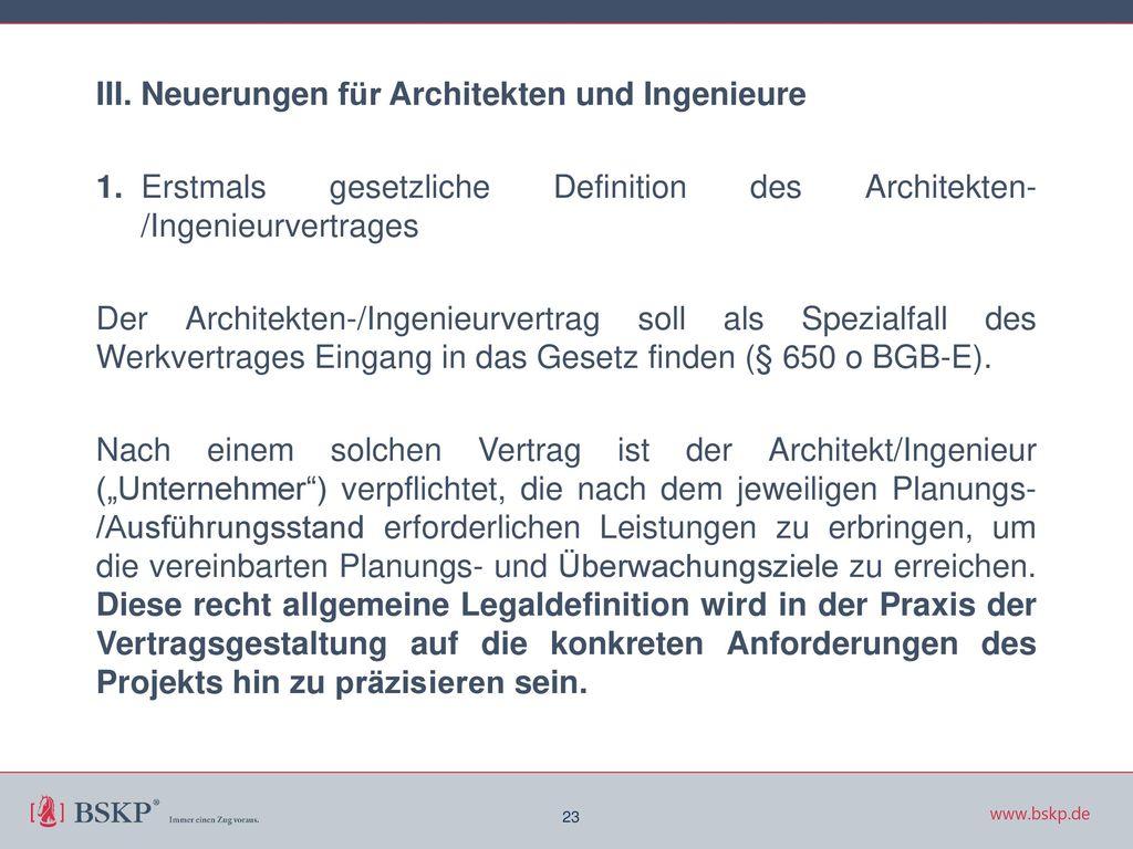 III. Neuerungen für Architekten und Ingenieure 1