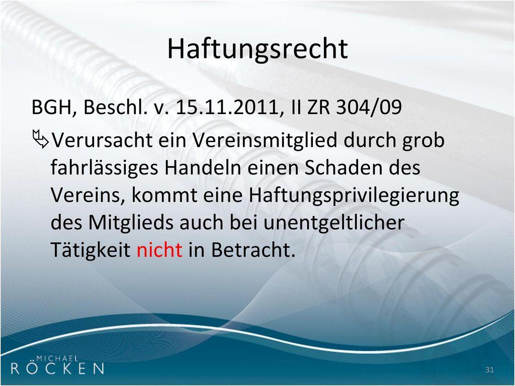 Haftungsrecht BGH, Beschl. v. 15.11.2011, II ZR 304/09