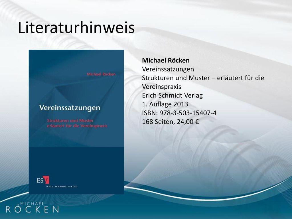 Literaturhinweis Michael Röcken Vereinssatzungen