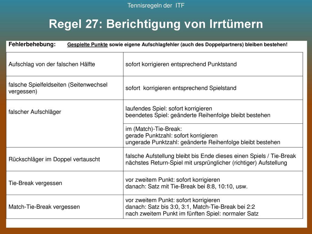 Regel 27: Berichtigung von Irrtümern