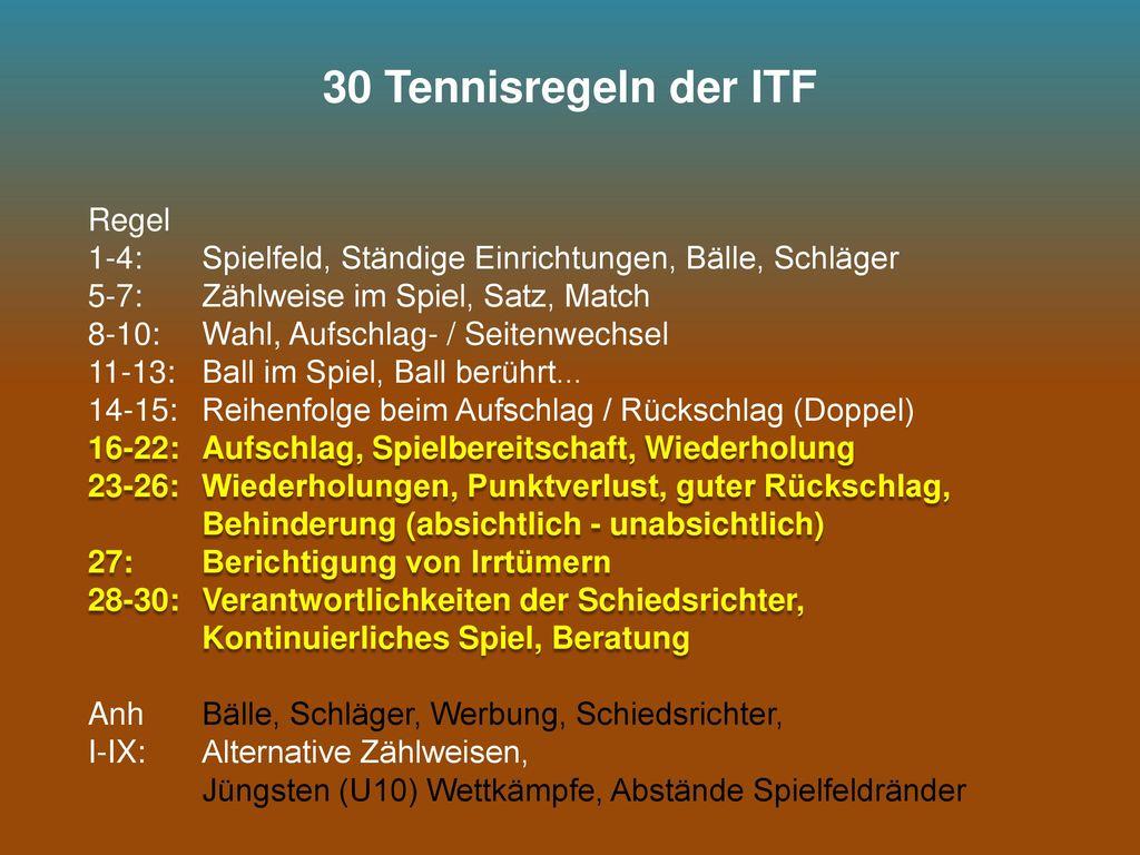 30 Tennisregeln der ITF Regel