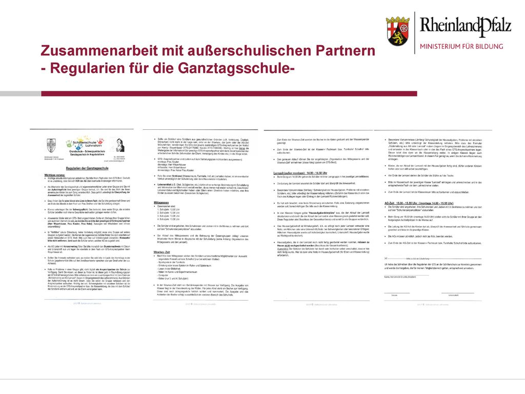 Zusammenarbeit mit außerschulischen Partnern - Regularien für die Ganztagsschule-