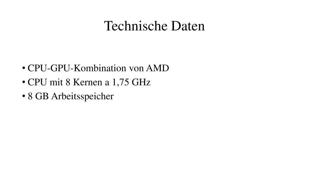 Technische Daten CPU-GPU-Kombination von AMD