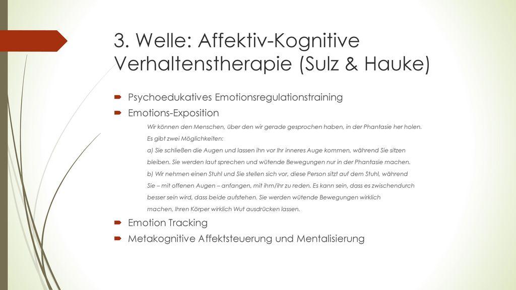 3. Welle: Affektiv-Kognitive Verhaltenstherapie (Sulz & Hauke)