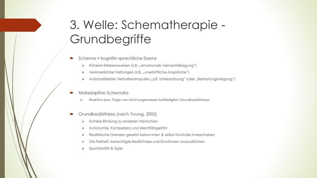 3. Welle: Schematherapie - Grundbegriffe