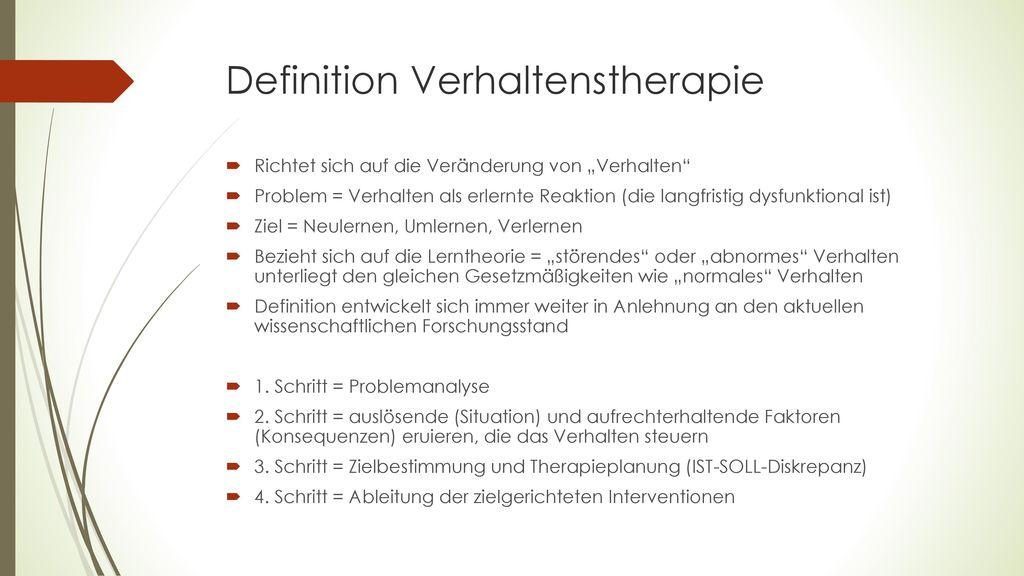 Definition Verhaltenstherapie