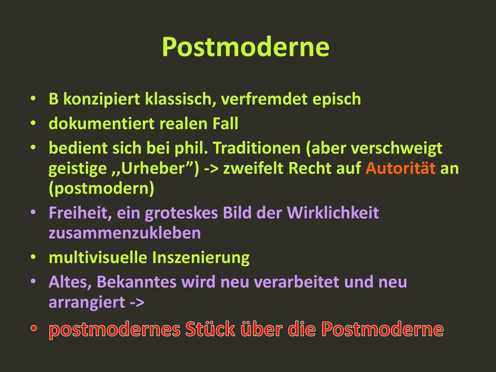 Postmoderne postmodernes Stück über die Postmoderne