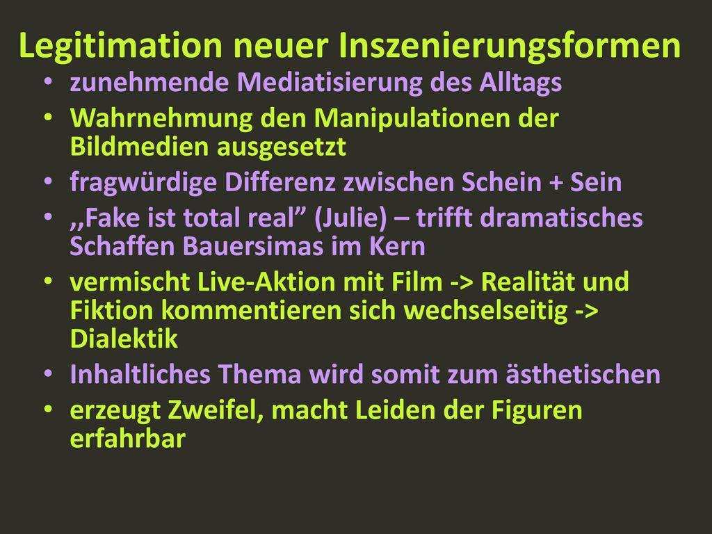 Legitimation neuer Inszenierungsformen