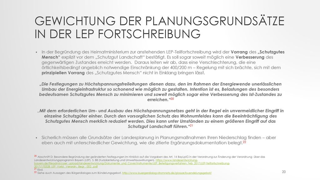 Gewichtung der Planungsgrundsätze in der LEP Fortschreibung