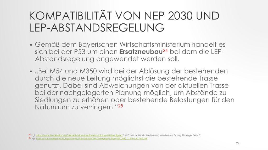Kompatibilität von NEP 2030 und LEP-Abstandsregelung