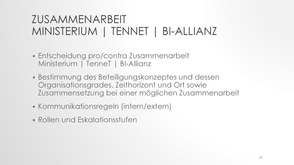 Zusammenarbeit Ministerium | TenneT | BI-Allianz