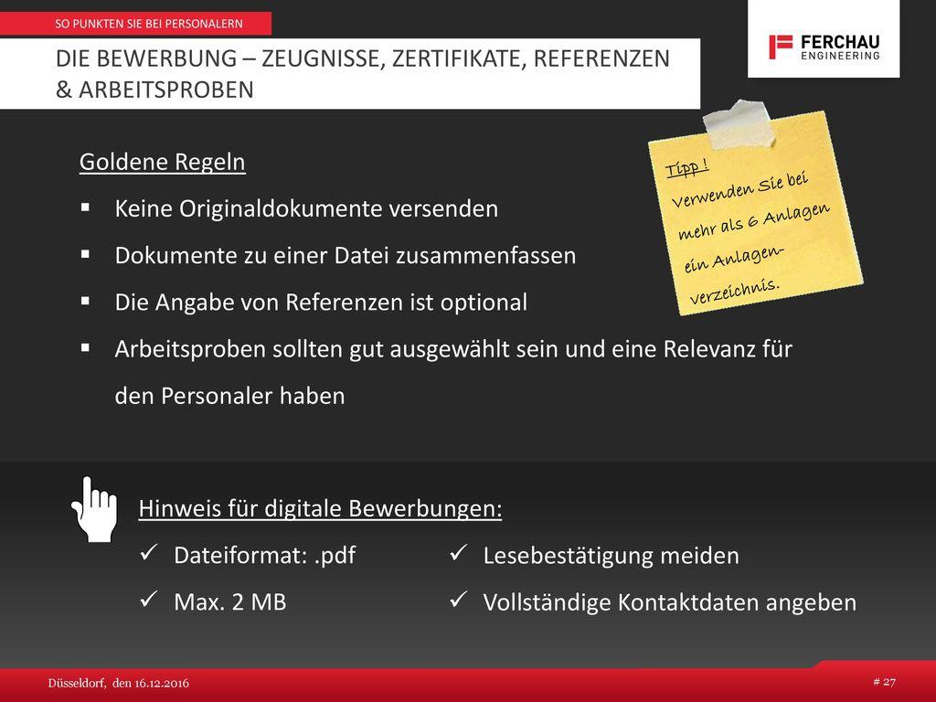 Die Bewerbung – Zeugnisse, Zertifikate, Referenzen & Arbeitsproben