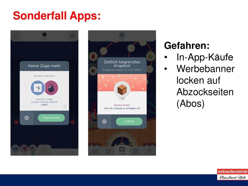 Sonderfall Apps: Gefahren: In-App-Käufe
