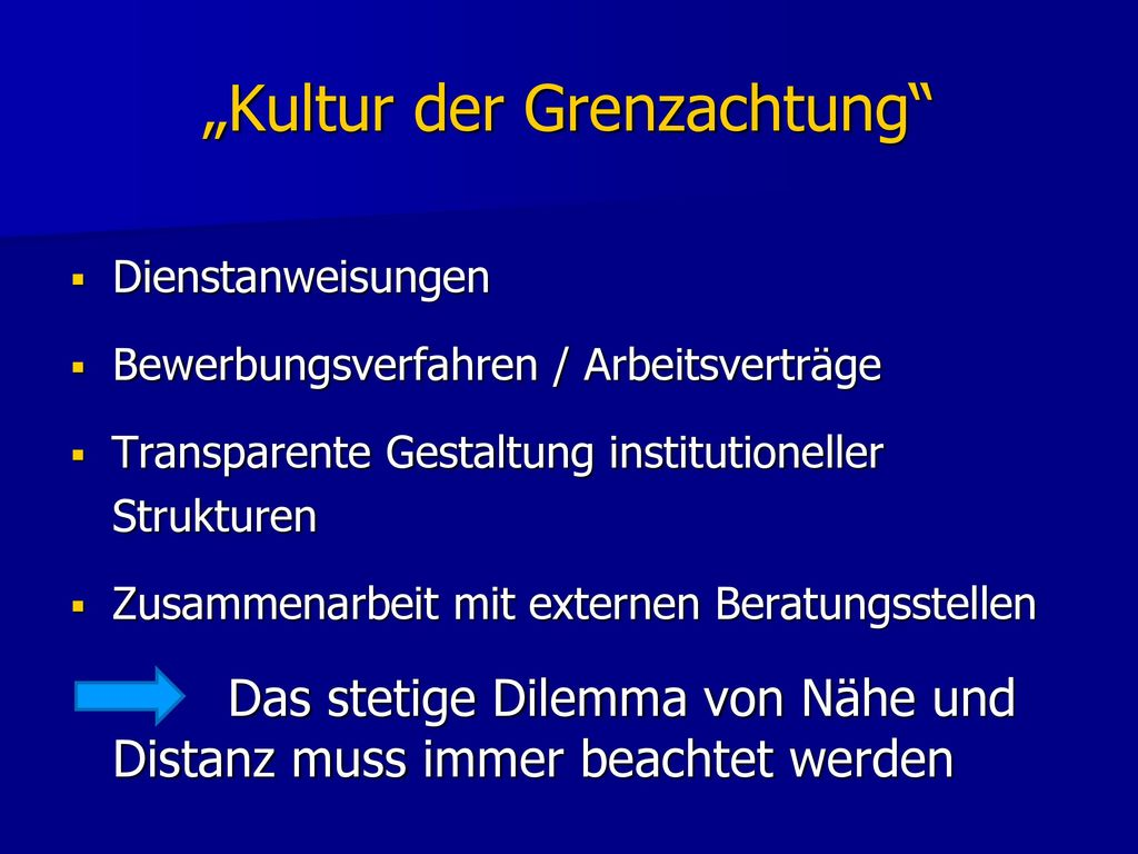 """Kultur der Grenzachtung"