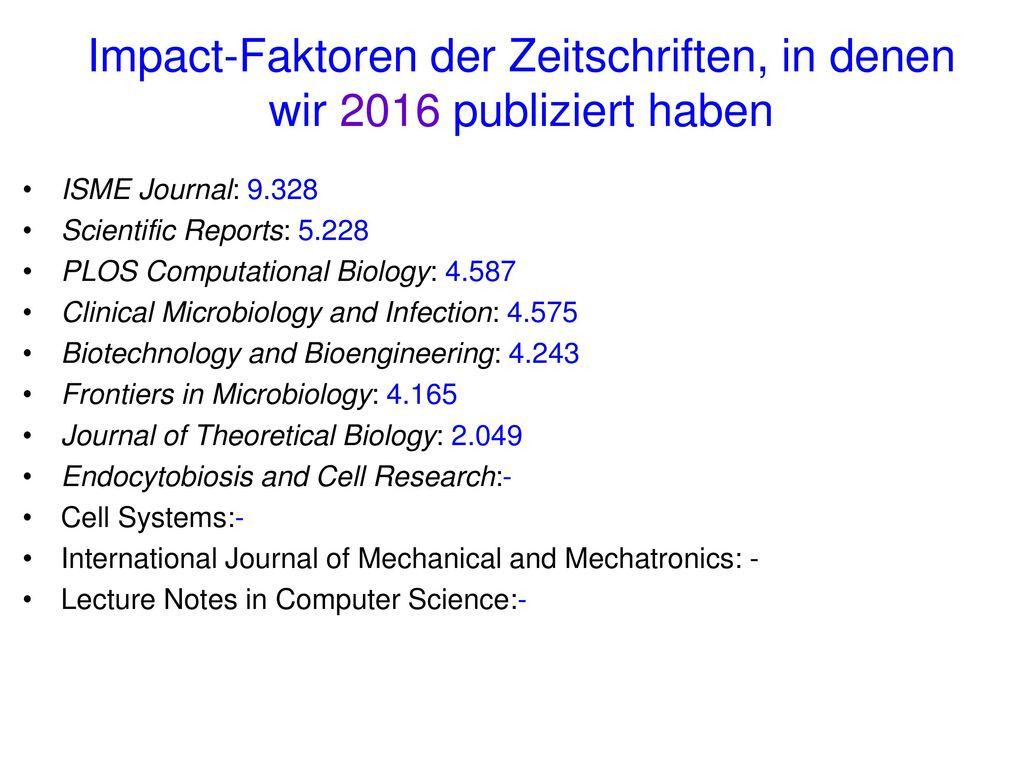 Impact-Faktoren der Zeitschriften, in denen wir 2016 publiziert haben