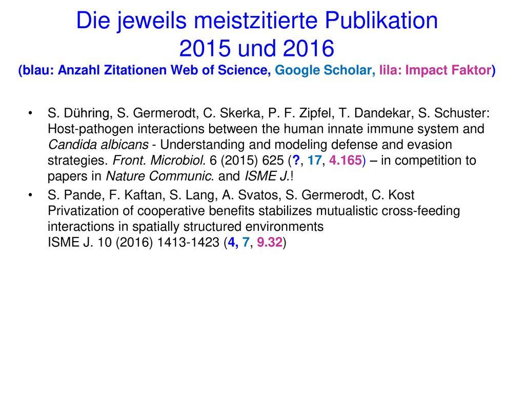 Die jeweils meistzitierte Publikation 2015 und 2016 (blau: Anzahl Zitationen Web of Science, Google Scholar, lila: Impact Faktor)