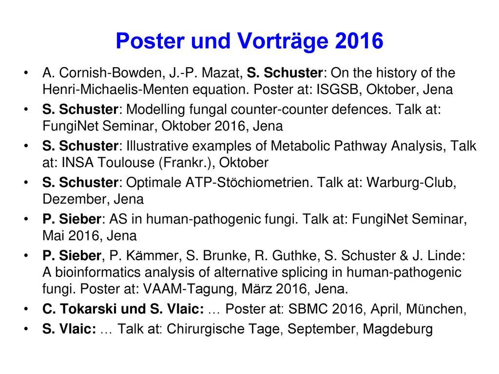 Poster und Vorträge 2016