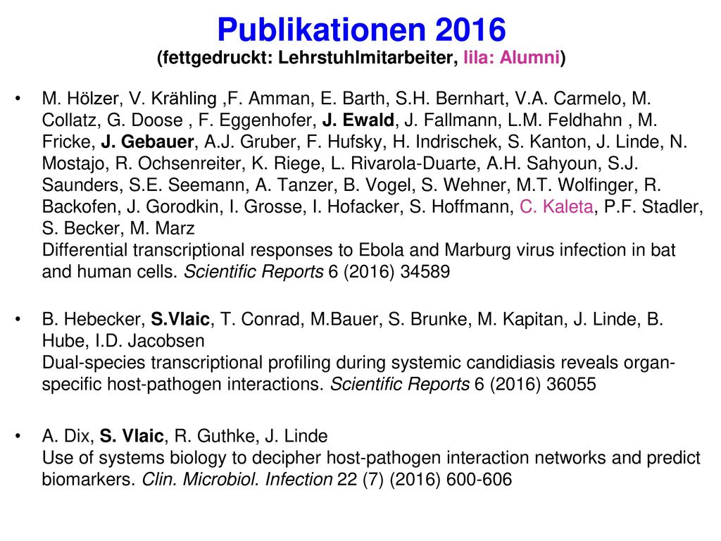 Publikationen 2016 (fettgedruckt: Lehrstuhlmitarbeiter, lila: Alumni)