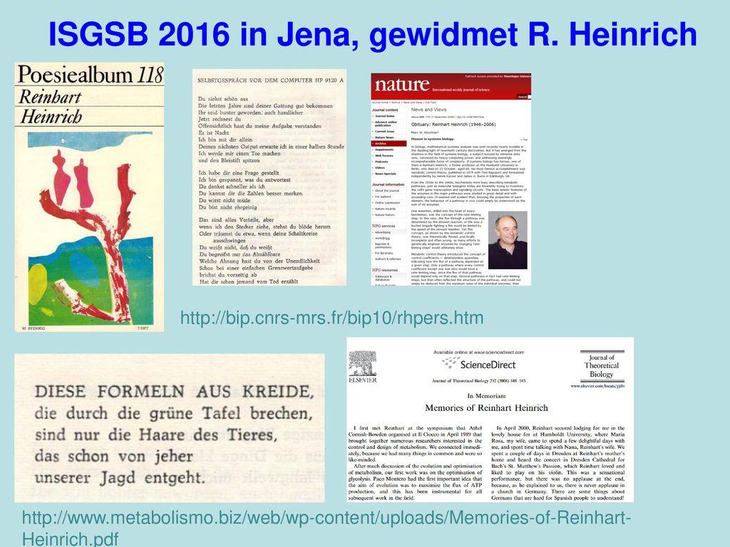 ISGSB 2016 in Jena, gewidmet R. Heinrich