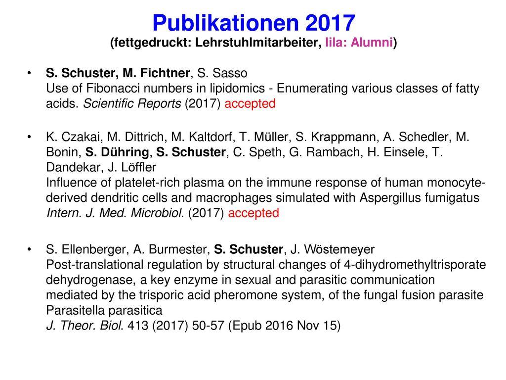 Publikationen 2017 (fettgedruckt: Lehrstuhlmitarbeiter, lila: Alumni)