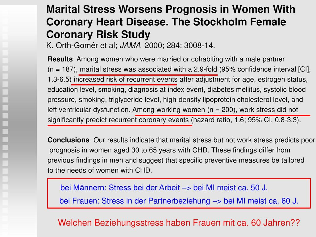 Marital Stress Worsens Prognosis in Women With Coronary Heart Disease