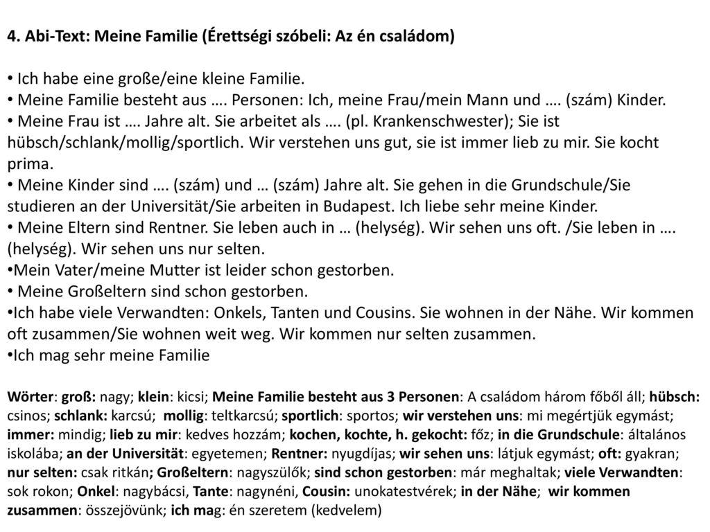4. Abi-Text: Meine Familie (Érettségi szóbeli: Az én családom)