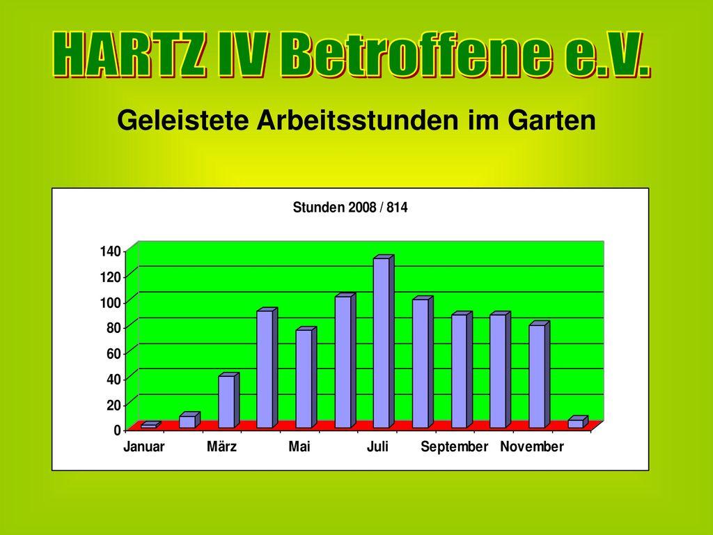HARTZ IV Betroffene e.V. Geleistete Arbeitsstunden im Garten