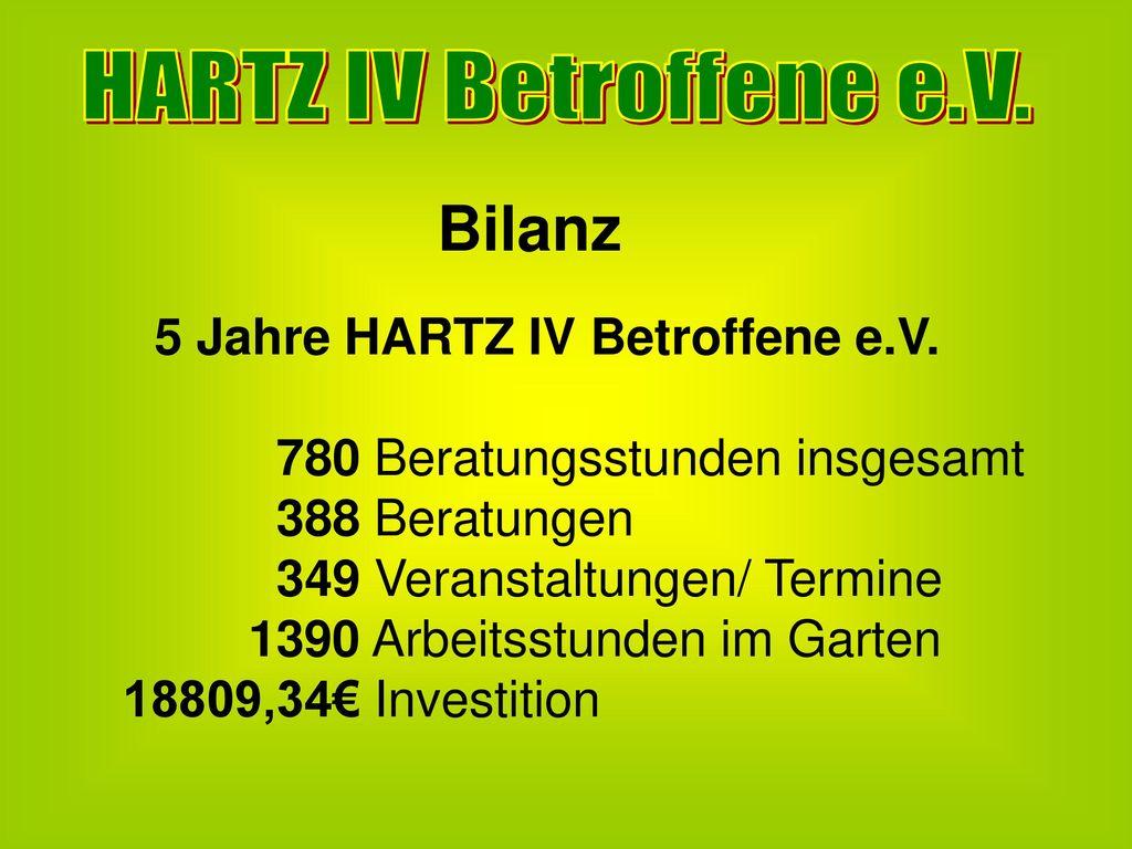 Bilanz HARTZ IV Betroffene e.V. 780 Beratungsstunden insgesamt