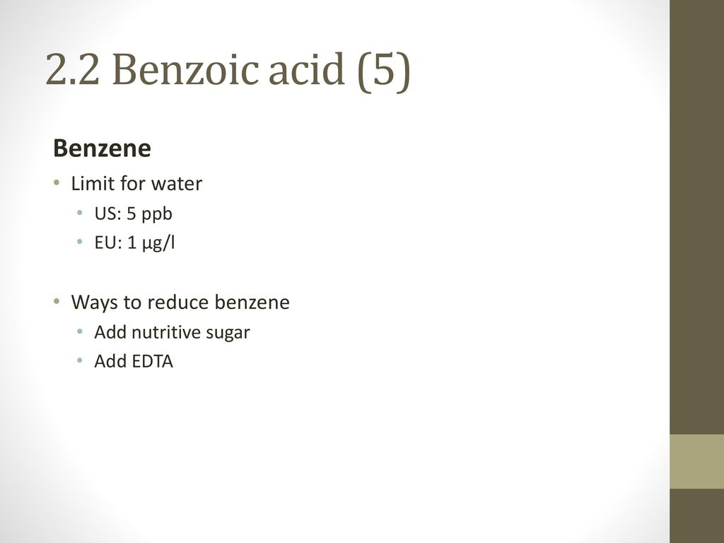 2.2 Benzoic acid (5) Benzene Limit for water Ways to reduce benzene