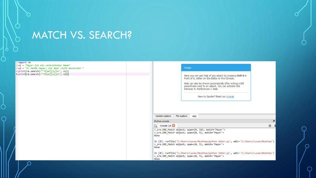 Match vs. Search Funktioniert aber nur in Python (Search)