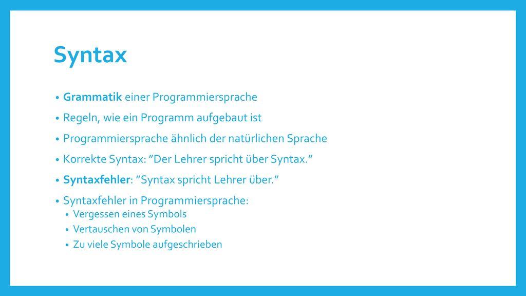 Syntax Grammatik einer Programmiersprache