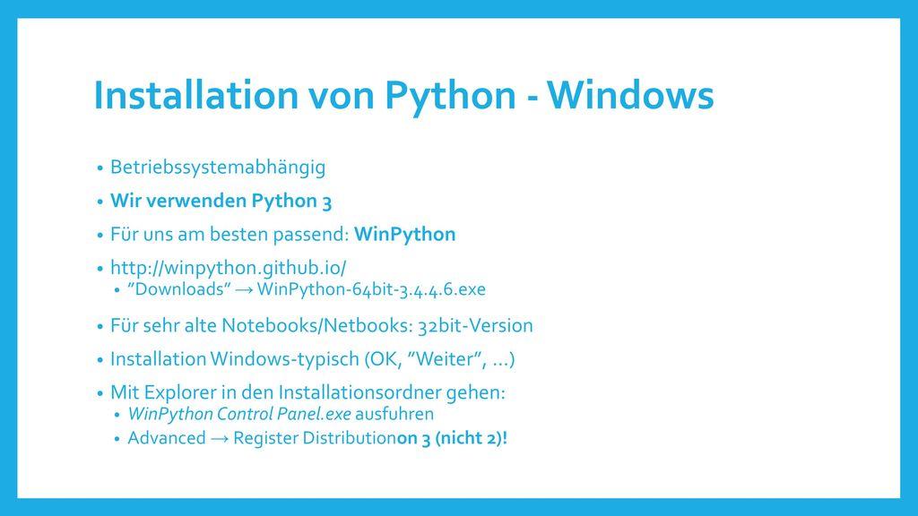 Installation von Python - Windows