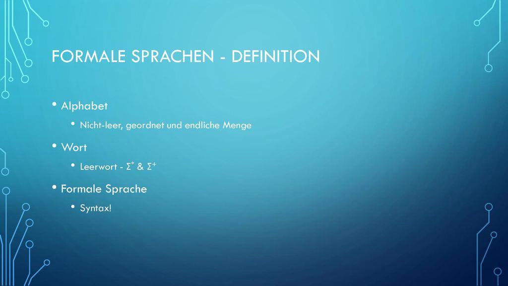 Formale Sprachen - Definition