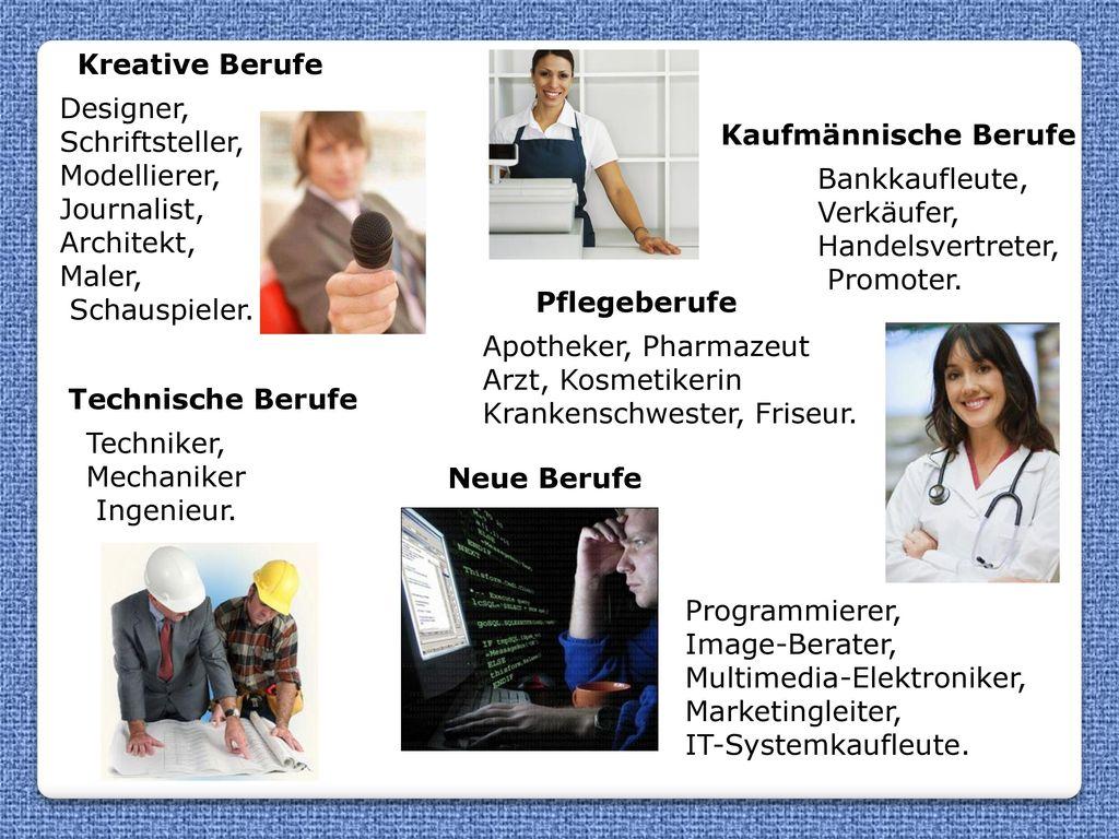 Kreative Berufe Designer, Schriftsteller, Modellierer, Journalist, Architekt, Maler, Schauspieler.