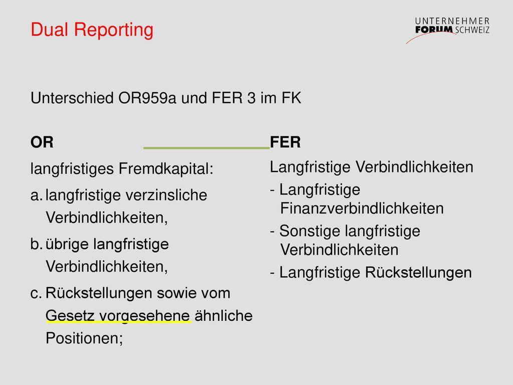 Dual Reporting Unterschied OR959a und FER 3 im FK