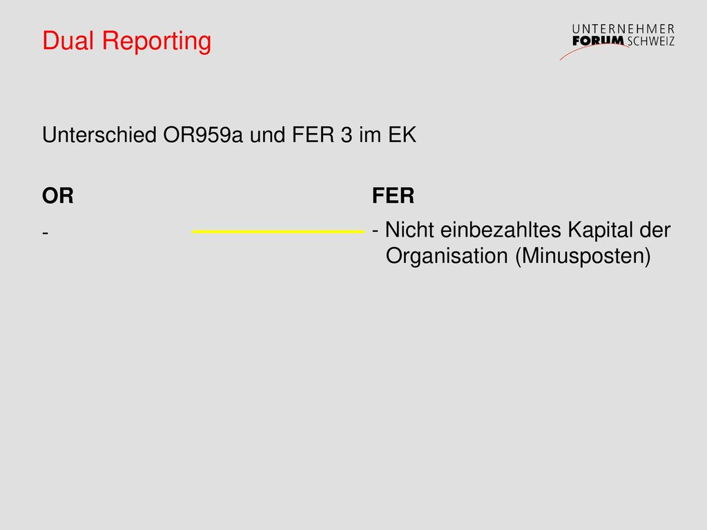 Dual Reporting Unterschied OR959a und FER 3 im EK OR -