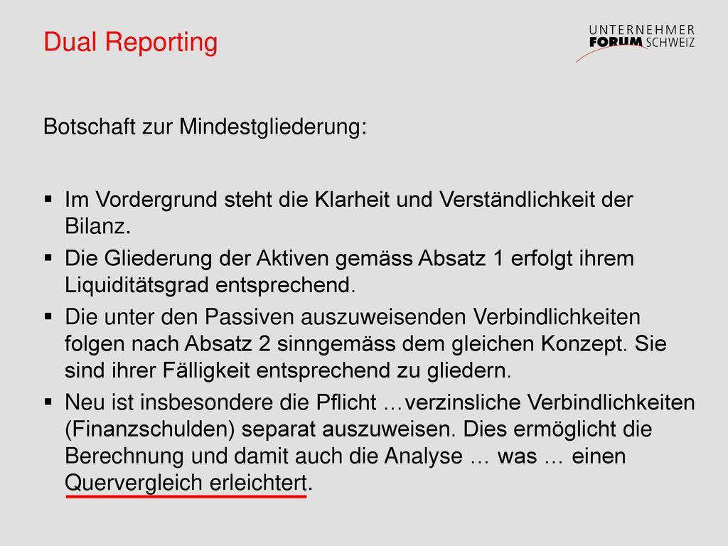 Dual Reporting Botschaft zur Mindestgliederung: